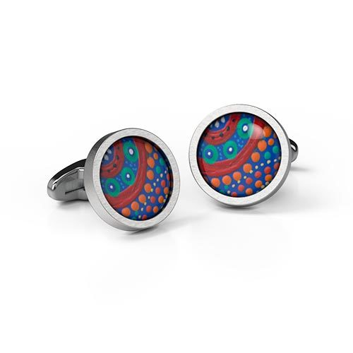 Cufflinks Round Family Picking Wildflowers