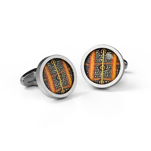 Cufflinks Round Caterpillar